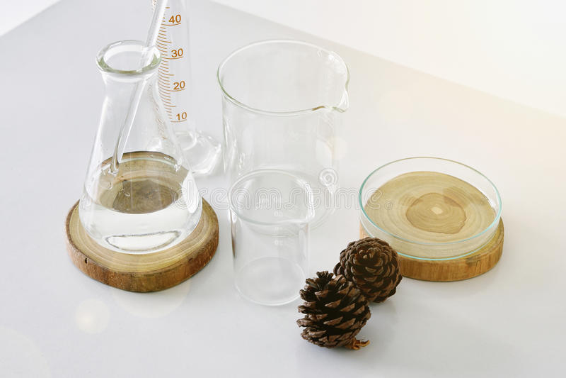 Ομάδα εργαστηριακών γυαλικών με το φυσικό συστατικό στοκ φωτογραφίες