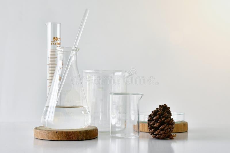 Ομάδα εργαστηριακών γυαλικών με το φυσικό συστατικό στοκ εικόνες