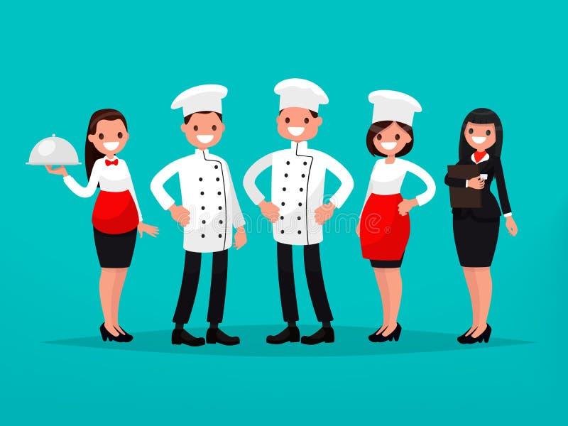 Ομάδα εστιατορίων Αρχιμάγειρας, μάγειρας, διευθυντής, σερβιτόρος Διανυσματικό Illustratio απεικόνιση αποθεμάτων