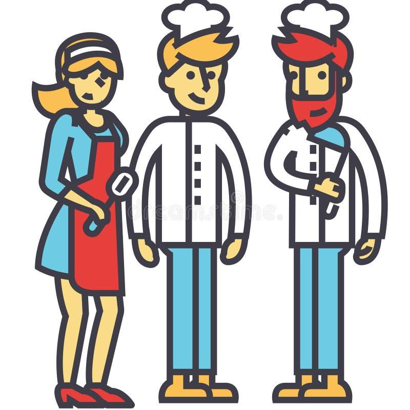 Ομάδα εστιατορίων, εργαζόμενοι κουζινών, σερβιτόρος, κουζίνα bartender έννοια ελεύθερη απεικόνιση δικαιώματος