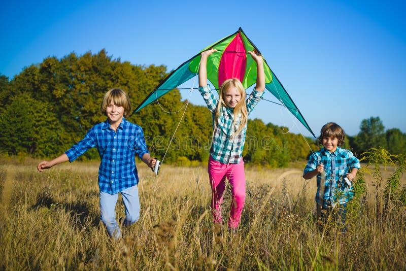 Ομάδα ευτυχών και χαμογελώντας παιδιών playingin με τον ικτίνο υπαίθριο στοκ εικόνα με δικαίωμα ελεύθερης χρήσης