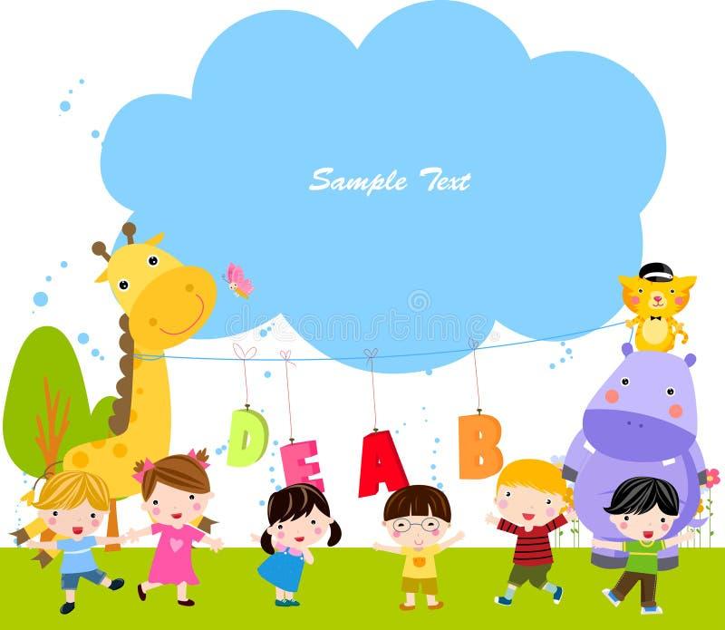 Ομάδα ζώων και παιδιά διανυσματική απεικόνιση