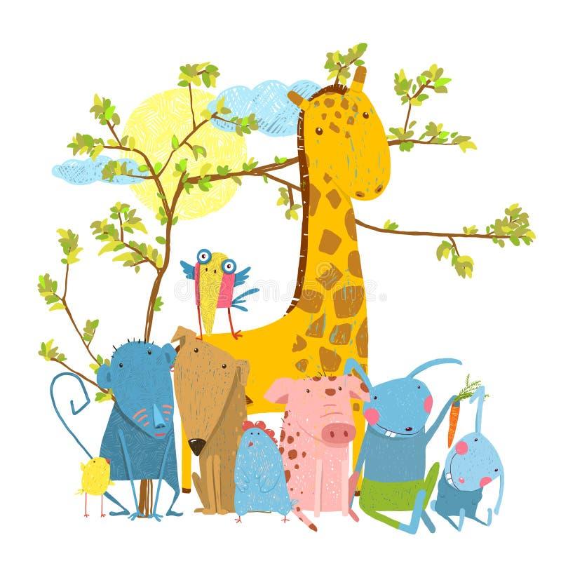 Ομάδα ζώων φίλων ζωολογικών κήπων κινούμενων σχεδίων απεικόνιση αποθεμάτων
