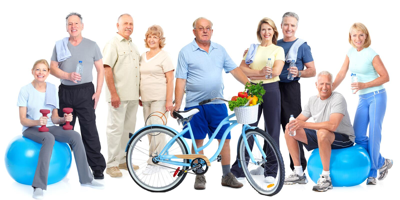 Ομάδα ηλικιωμένων ανθρώπων ικανότητας με το ποδήλατο στοκ φωτογραφίες με δικαίωμα ελεύθερης χρήσης