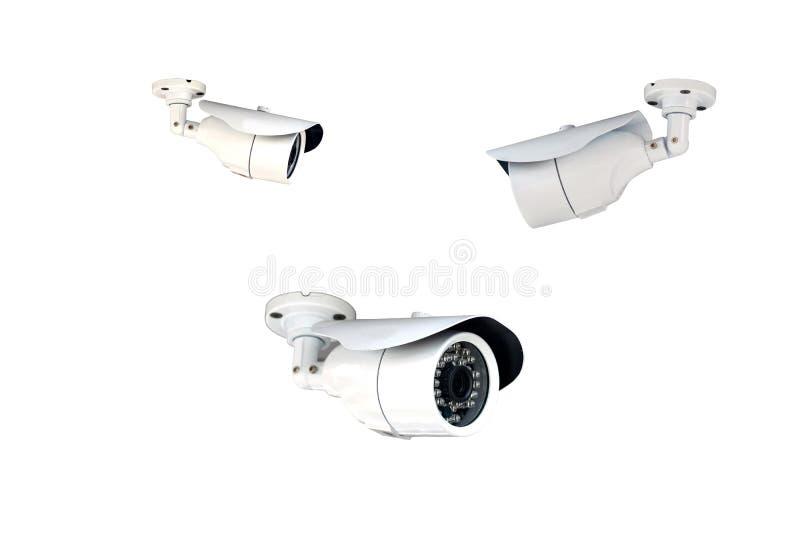 Ομάδα κάμερων ασφαλείας (CCTV) στο άσπρο υπόβαθρο στοκ εικόνες με δικαίωμα ελεύθερης χρήσης