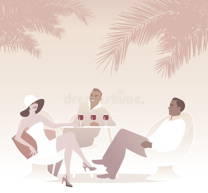 Ομάδα κόκκινου κρασιού κατανάλωσης τρία κάτω από τους φοίνικες Αναδρομική θερινή σκηνή ύφους ελεύθερη απεικόνιση δικαιώματος