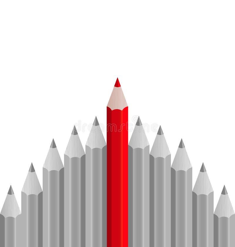 Ομάδα μολυβιών με το ένα που τονίζεται ως επιχειρησιακή έννοια για το LE διανυσματική απεικόνιση