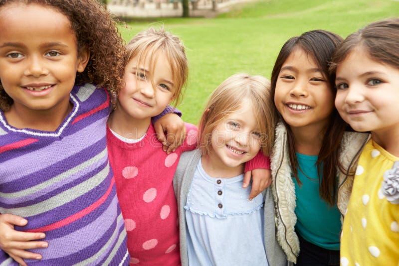 Ομάδα νέων κοριτσιών που κρεμούν έξω στο πάρκο από κοινού στοκ φωτογραφία με δικαίωμα ελεύθερης χρήσης
