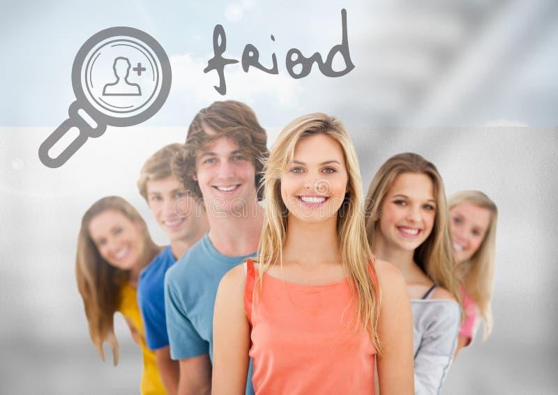 Ομάδα νέων που στέκονται μπροστά από το κείμενο φίλων με την ενίσχυση - εικονίδιο αναζήτησης γυαλιού απεικόνιση αποθεμάτων