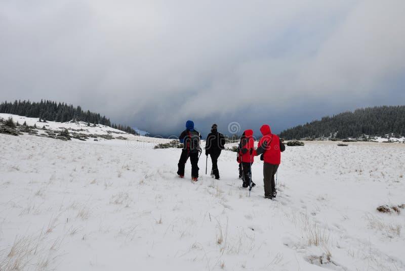 Ομάδα ομάδας που στα βουνά στο χειμώνα στοκ εικόνα με δικαίωμα ελεύθερης χρήσης