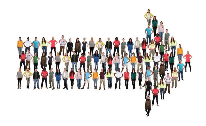 Ομάδα ομαδικής εργασίας ομάδων επιτυχίας βελών κατεύθυνσης νέων mult στοκ φωτογραφίες
