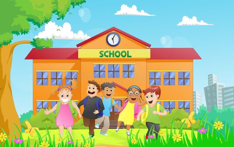 Ομάδα παιδιών δημοτικών σχολείων που εγκαταλείπουν το σχολείο ελεύθερη απεικόνιση δικαιώματος