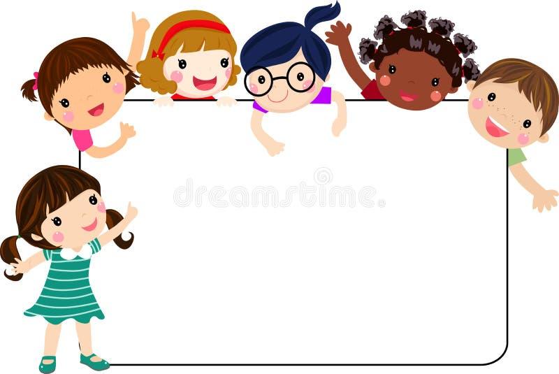 Ομάδα παιδιών και εμβλήματος διανυσματική απεικόνιση