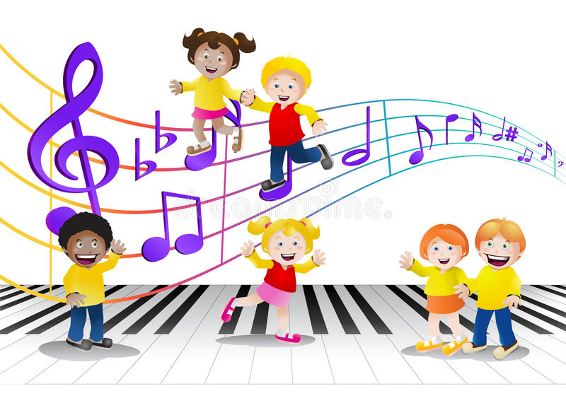 Ομάδα παιδιών μπροστά από τις σημειώσεις μουσικής διανυσματική απεικόνιση