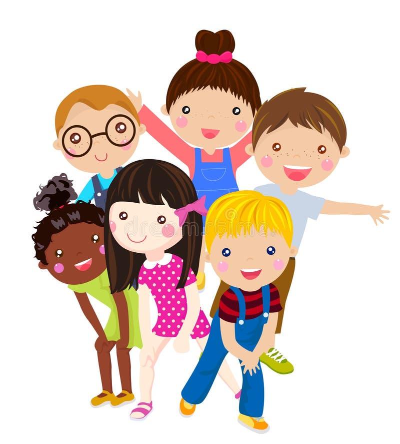 Ομάδα παιδιών που έχουν τη διασκέδαση διανυσματική απεικόνιση