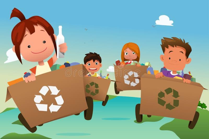 Ομάδα παιδιών που ανακυκλώνουν τα απορρίμματα διανυσματική απεικόνιση