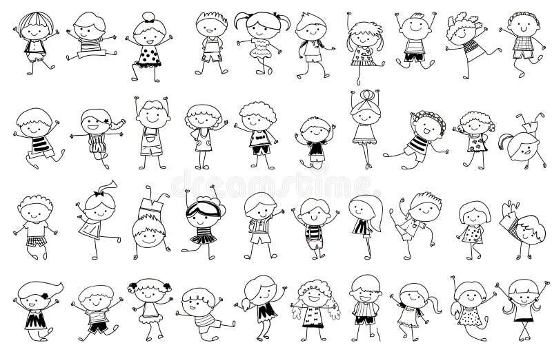 Ομάδα παιδιών, που σύρει το σκίτσο ελεύθερη απεικόνιση δικαιώματος