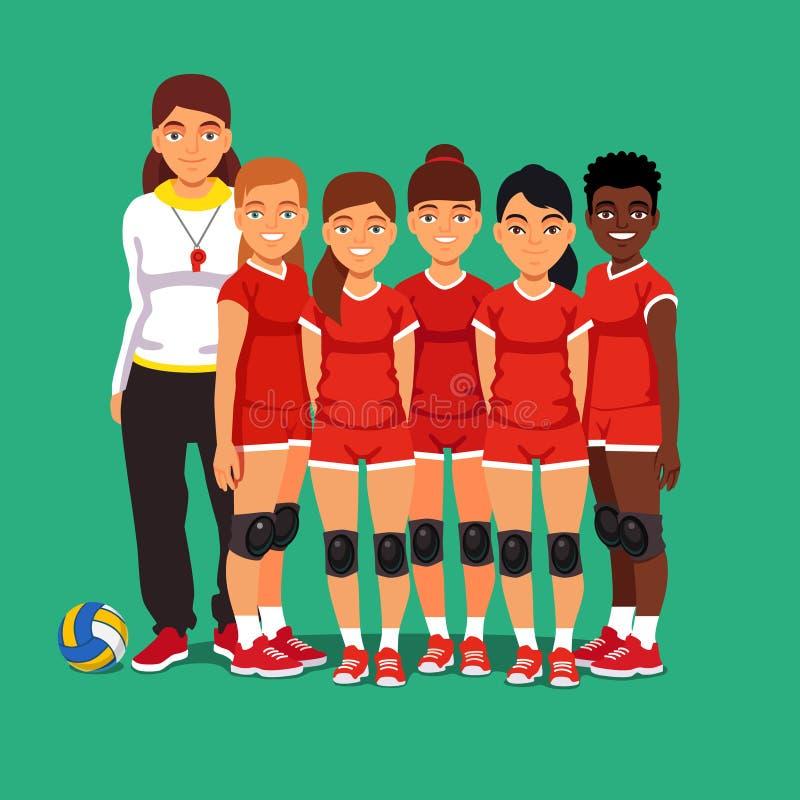 Ομάδα πετοσφαίρισης σχολικών γυναικών διανυσματική απεικόνιση