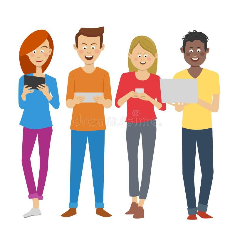 Ομάδα πολυφυλετικών σπουδαστών που χρησιμοποιούν τις ψηφιακές συσκευές στο πανεπιστημιακό σπάσιμο Εθισμός νέων στις τάσεις της νέ απεικόνιση αποθεμάτων