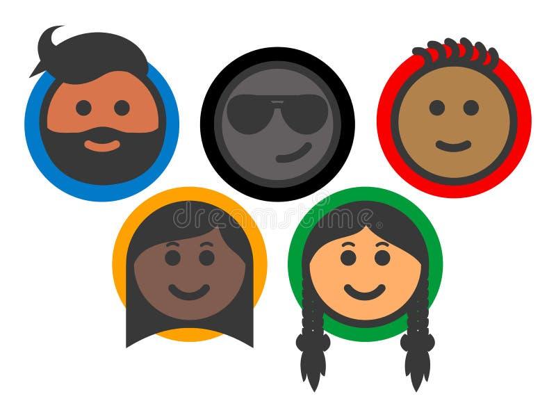 Ομάδα πολυ-εθνικών εικονιδίων emoji ανθρώπων διανυσματική απεικόνιση