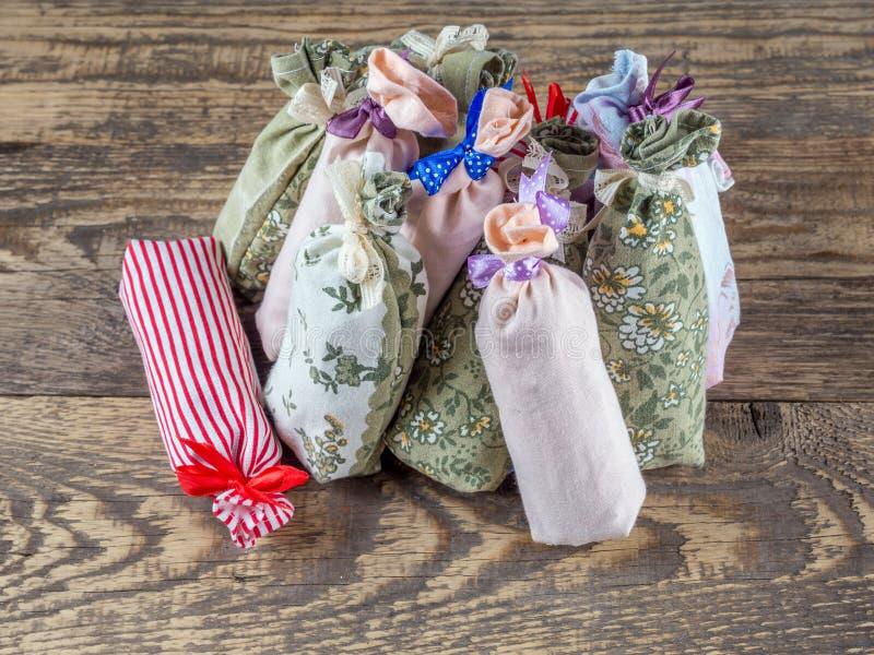 Ομάδα σακουλών με ξηρό lavender στοκ εικόνες