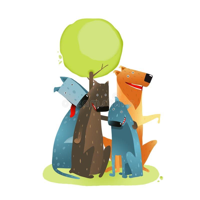 Ομάδα σκυλιών κινούμενων σχεδίων που κάθεται κάτω από το χαμόγελο δέντρων απεικόνιση αποθεμάτων