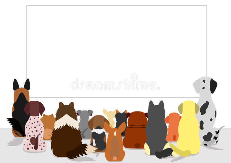 Ομάδα σκυλιών που εξετάζει τον κενό πίνακα διανυσματική απεικόνιση