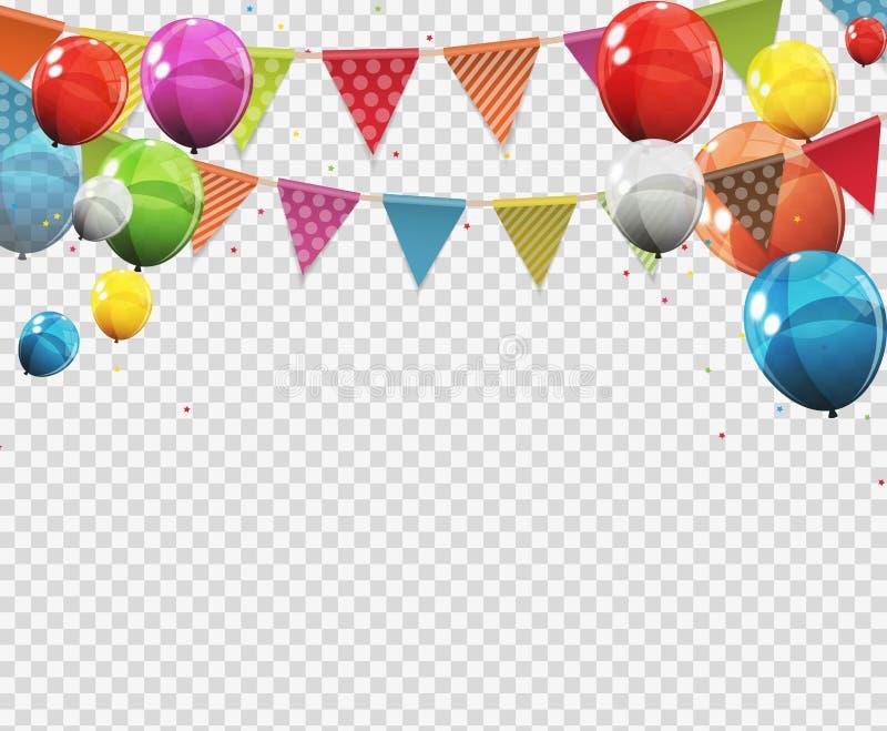 Ομάδα στιλπνών μπαλονιών ηλίου χρώματος με την κενή σελίδα στο διαφανές υπόβαθρο επίσης corel σύρετε το διάνυσμα απεικόνισης ελεύθερη απεικόνιση δικαιώματος