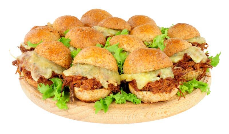 Ομάδα τεμαχισμένων ολισθαινόντων ρυθμιστών σάντουιτς βόειου κρέατος στοκ φωτογραφίες