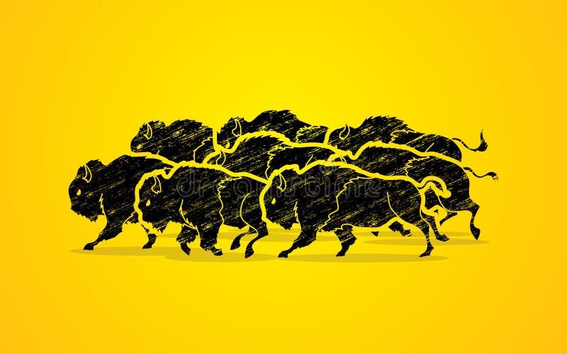Ομάδα τρεξίματος βούβαλων ελεύθερη απεικόνιση δικαιώματος