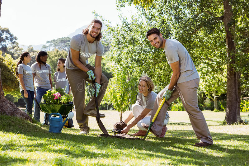 Ομάδα των εθελοντών που καλλιεργούν από κοινού στοκ φωτογραφίες με δικαίωμα ελεύθερης χρήσης