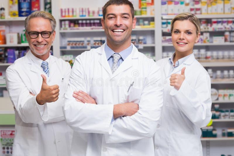 Ομάδα των φαρμακοποιών που χαμογελούν στη κάμερα στοκ εικόνα με δικαίωμα ελεύθερης χρήσης
