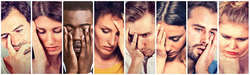 Ομάδα λυπημένων καταθλιπτικών ανθρώπων Δυστυχισμένες γυναίκες ανδρών στοκ εικόνα
