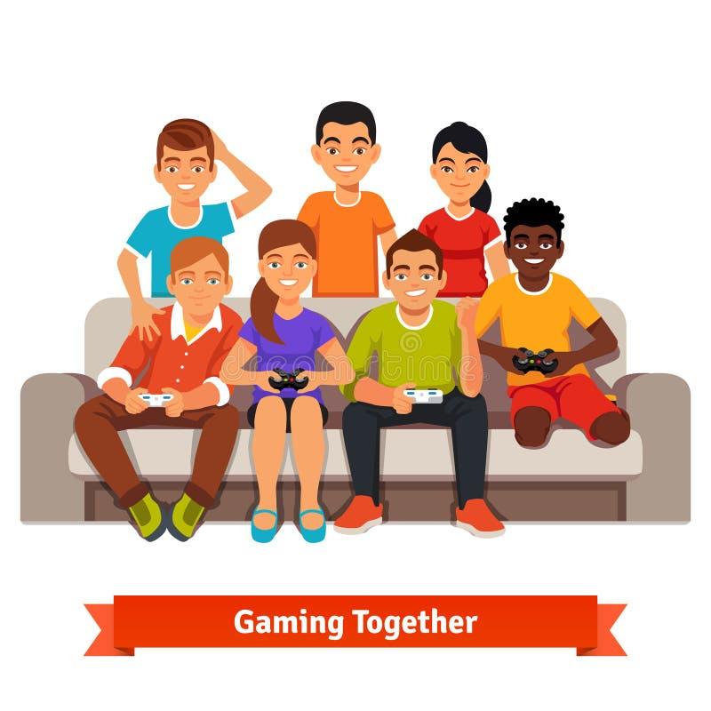 Ομάδα φίλων εφήβων που έχουν ένα τηλεοπτικό κόμμα παιχνιδιών απεικόνιση αποθεμάτων