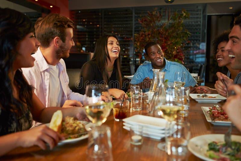 Ομάδα φίλων που απολαμβάνουν το γεύμα στο εστιατόριο στοκ εικόνες