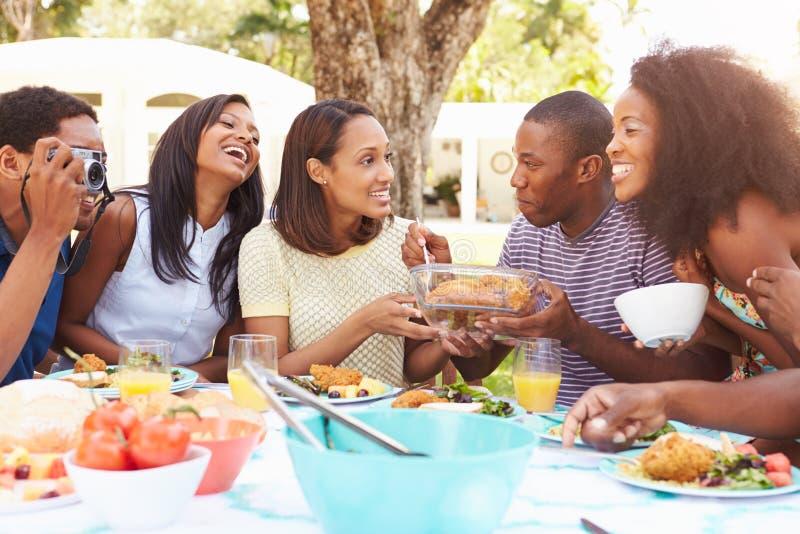 Ομάδα φίλων που απολαμβάνουν το υπαίθριο γεύμα στο σπίτι στοκ εικόνα