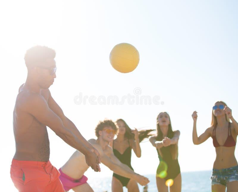 Ομάδα φίλων που παίζουν volley παραλιών στην παραλία στοκ εικόνες
