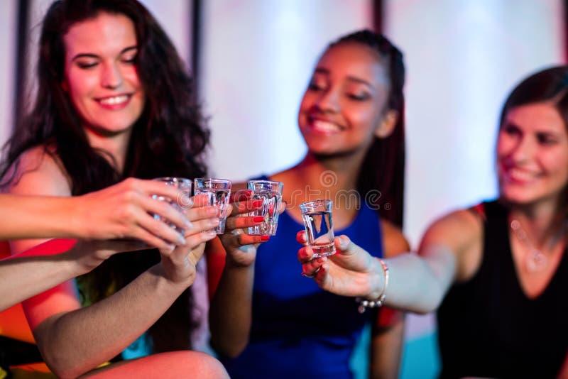 Ομάδα φίλων που ψήνουν πυροβοληθε'ντα τα tequila γυαλιά στοκ εικόνα με δικαίωμα ελεύθερης χρήσης