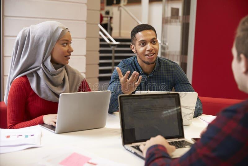 Ομάδα φοιτητών πανεπιστημίου που συνεργάζονται στο πρόγραμμα στοκ εικόνες