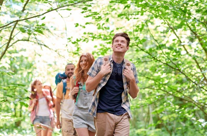 Ομάδα χαμογελώντας φίλων με την πεζοπορία σακιδίων πλάτης στοκ εικόνες με δικαίωμα ελεύθερης χρήσης