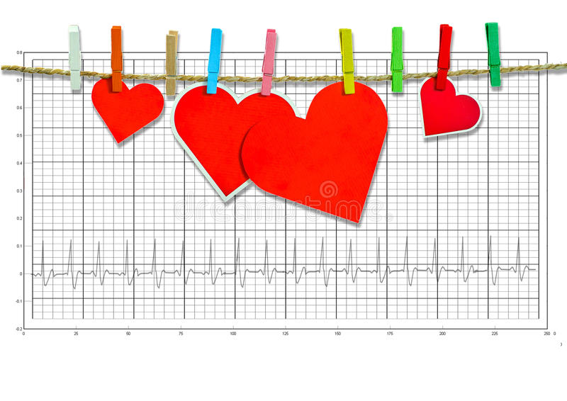 Ομάδα χαριτωμένης μεγάλης κόκκινης ένωσης καρδιών στη σκοινί για άπλωμα στο ηλεκτροκαρδιογράφημα στοκ εικόνα