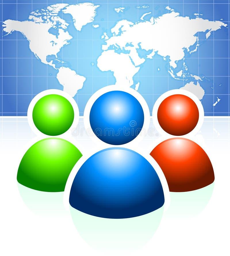 Ομάδα χρηστών με το υπόβαθρο παγκόσμιων χαρτών διανυσματική απεικόνιση