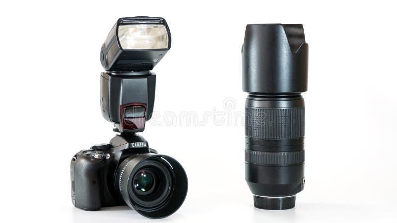 Ομάδα ψηφιακής κάμερα με το φακό και τη λάμψη στοκ εικόνες