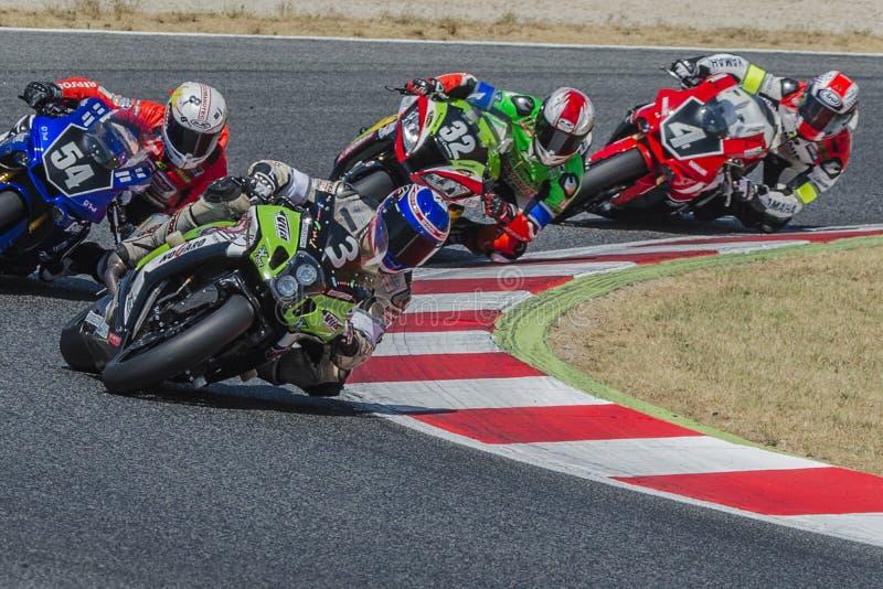 Ομάδα Thomas Superpole 24 ώρες Motorcycling Catalunya στοκ εικόνες
