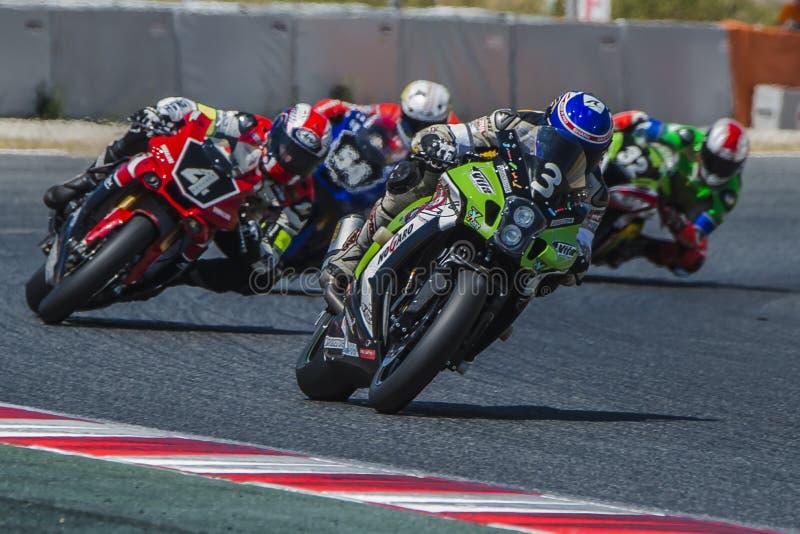 Ομάδα Thomas Superpole 24 ώρες Motorcycling Catalunya στοκ εικόνα