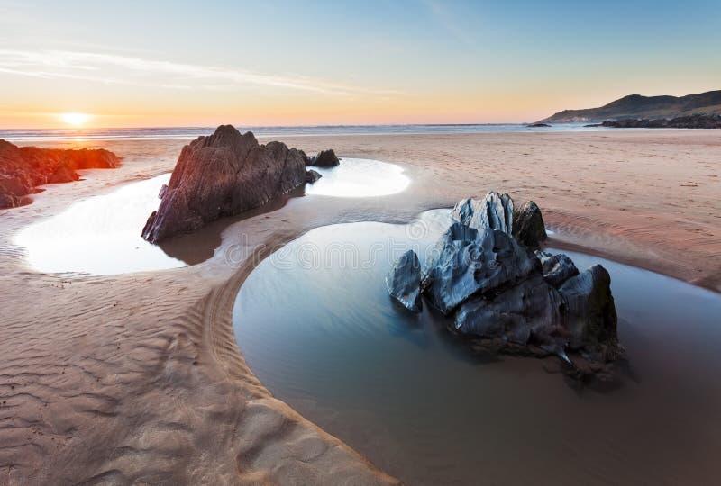 Παραλία Devon Combesgate στοκ εικόνες