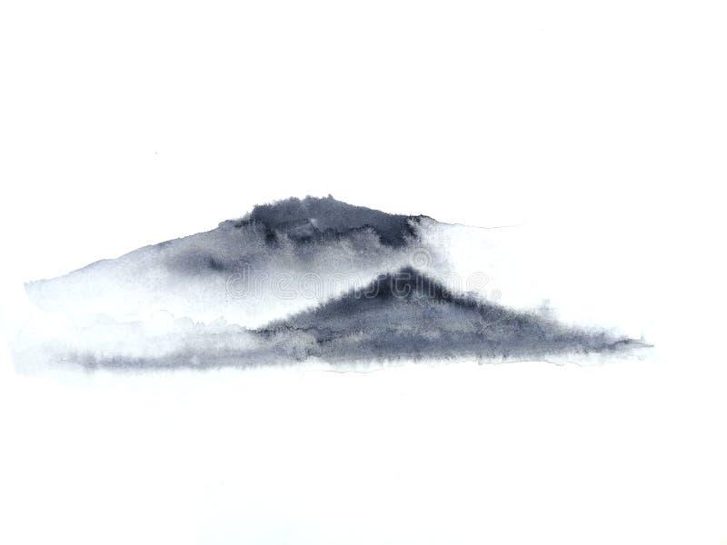 Ομίχλη βουνών τοπίων μελανιού Παραδοσιακός Ασιάτης ύφος τέχνης της Ασίας E στοκ φωτογραφία με δικαίωμα ελεύθερης χρήσης