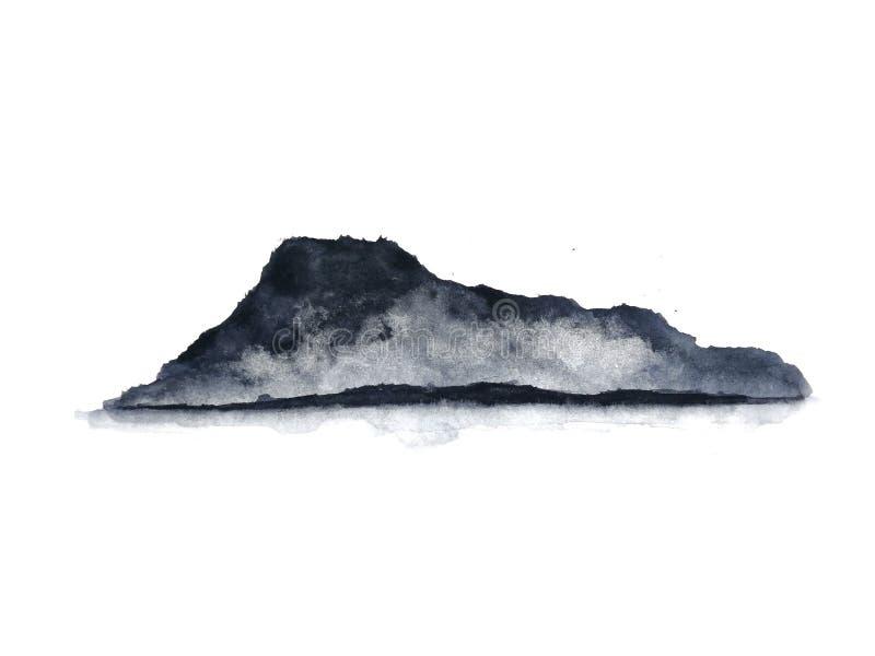 Ομίχλη βουνών τοπίων μελανιού Παραδοσιακός Ασιάτης ύφος τέχνης της Ασίας E στοκ εικόνες
