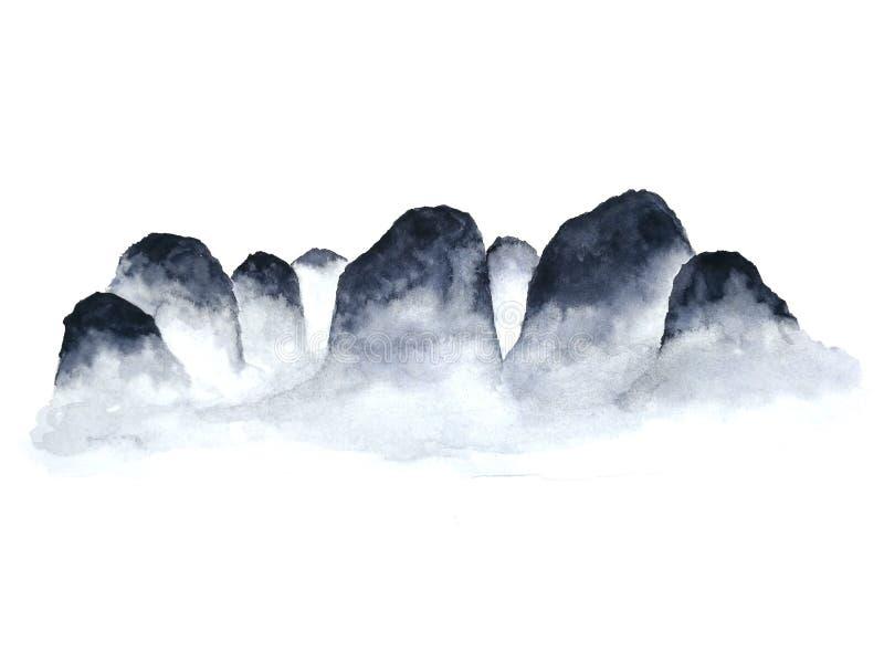 Ομίχλη βουνών τοπίων μελανιού Παραδοσιακός Ασιάτης ύφος τέχνης της Ασίας E στοκ φωτογραφία