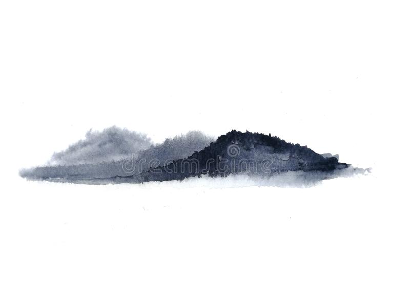 Ομίχλη βουνών τοπίων μελανιού Παραδοσιακός Ασιάτης ύφος τέχνης της Ασίας E στοκ φωτογραφίες